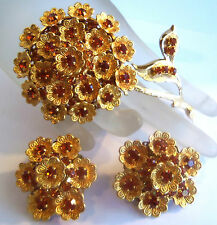 ALICE CAVINESS  Large Goldplated Crystal Flower Brooch & Earrings Estate Jewelry