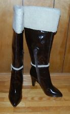 NEW NINE WEST ACCENTS DARK BROWN LEATHER FAUX FUR KNEE HIGH BOOTS SZ 7.5 M