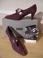 BNWT UK 5 Van Dal Bijou TLC Plum Womens Suede Court Shoes WATERPROOF COATING