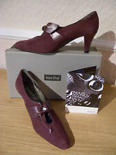 BNWT UK 5 WATERPROOF COATING Van Dal Bijou TLC Plum Womens Suede Leather Shoes