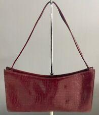 Genuine LEO MONK Burgundy Croc Print Patent Leather Baguette Bag