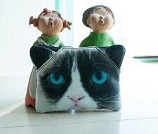 Grumpy Cat orejas pequeñas 3D Bolsa de Cosméticos Maquillaje Bolso Cartera Regalo poco amantes de gatos