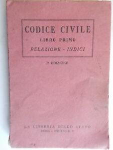 codice civile libro primo relazione indici 1938 libreria poligrafico stato 80 *