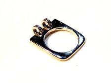Bijou alliage argenté bague carré détails petits anneaux tournants taille 50