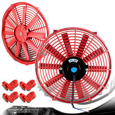 "Red 14"" High Performance Electric Cooling Pull/Push Slim Radiator Fan For Ford"