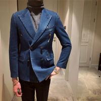 Cowboy Men Jacket Double-Breasted Peak Lapel Blazer British Denim Suits Business