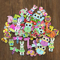 Cy_ 50Pcs Mixed Animal 2 Holes Wooden Buttons Sewing Craft Scrapbooking DIY Amaz