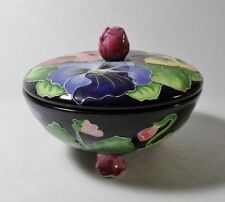 J McCall 2003 Blue Sky 3 Footed Covered Candy Dish/Trinket Box Mint
