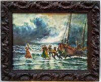 Retour de pêche gouache originale sous verre fin 19 ou début 20ème siècle