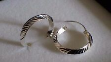 Real 925 Sterling Silver Ladies Huggie Hoop Diamond Cut Earrings 20 mm W 4 mm