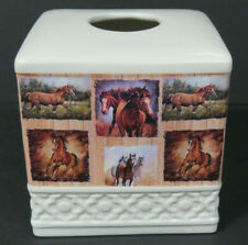 Tissue Box Square White Ceramic with 6 Horse Portraits on Each Side NEW in Box