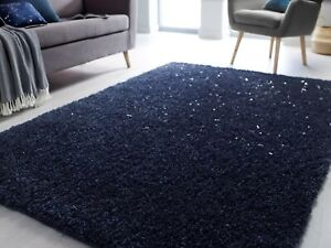 VELOCE SPARKLE BLUE SOFT THICK DENSE PILE SHAGGY RUG in various sizes