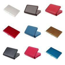 Portable Faux Leather Pocket Metal Business ID Credit Card Holder Case Wallets