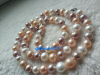 "Charming 18"" real 7-8mm AAA+ white pink purple South sea pearl necklace 14K"
