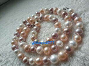 """Charming 18"""" real 7-8mm AAA+ white pink purple South sea pearl necklace 14K"""