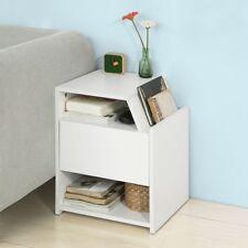SoBuy®Mesa auxiliar con 1 cajón,Consola,mesita de noche,blanco,FRG261-W,ES