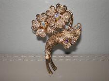 Beautiful Vintage Gold Tone Ornate Floral Design Brooch - Rainbow Crystal Stones