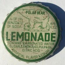 POLAR BEAR LEMONADE SODA POP BOTTLE CAP; AUSTIN, MINNESOTA; USED CORK