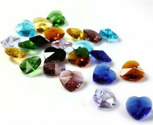10 HEART FACETED GLASS BEADS PENDANT CRYSTAL SUN CATCHER 10mm  COLOUR CHOICE
