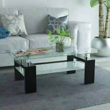 vidaXL Table Basse Haute Brillance avec Etagère Inférieure 110x60x40cm Noir