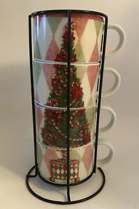 Pier 1 Set Of 4 Stacking Mugs In Holder Rack Holiday Christmas Tree Pink Green
