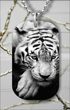 TIGER BLUE EYES #2 DOG TAG PENDANT NECKLACE FREE CHAIN -64ti
