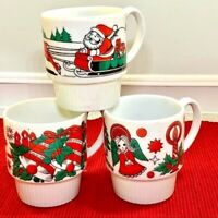 Vintage Christmas Stacking Mugs Japan Santa