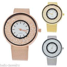 P/D Damen Uhr Armbanduhr Quarzuhr Analoguhr Strass Stahlband Armbanduhren 22cm