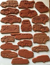 20 - Ford Plymouth Chevy Chrysler Pontiac WOODY car Unmounted RUBBER STAMPS Set!