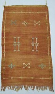Vintage Handmade Traditional Oriental Beige Sumac Kilim Rug Carpet 141x88cm