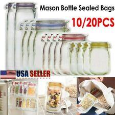 USA 10/20pcs Reusable Mason Jar Bottle Fresh Food Storage Bag Snack Zipper Pouch