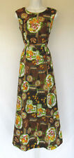 VINTAGE 1960s MOD DRESS BENNY'S CO. HONG KONG POLY SIZE 36 FLOWERS ABSTRACT BELT