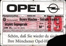 Ticket BL 92/93 FC Bayern München - Eintracht Frankfurt