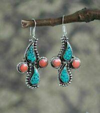 Unique Rhinestone Earrings Silver Turquoise GarnetFashion Jewelry Dangle Hook