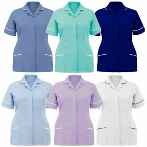 Womens Hospital Clinic Nurse Collared Tunic Ladies Healthcare Work Uniform Top