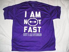 I AM NOT FAST BUT I AM STRONG Augusta Sportswear WORK OUT GYM SHIRT sz 2XL XXL