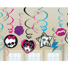 (12ct) Monster High Birthday Party Hanglers Hanging Swirl Decorations
