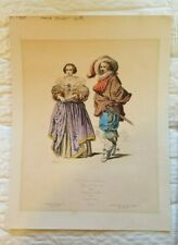 C. 1880 Rare Hand Colored Chromolithograph Costumes French Nobility Louis XIII