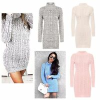 NEW LADIES CABLE KNITTED LONG SLEEVE POLO ROLL NECK STRETCH JUMPER DRESS