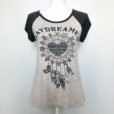 French Pastry Womens Shirt Gray Heather Daydreamer Graphic Studded Top Hi Lo Med