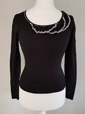 Womens Monsoon Jumper sweater top in black long sleeves round neck frill size 8.