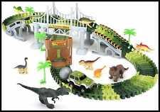 Dinosaur Track Toy 142Pcs Car Race Tracks Train Set Railway Playset W Flexible S