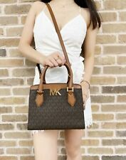 Michael Kors Mott Small Satchel Brown MK Signature PVC Leather MD Messenger