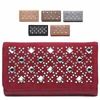Ladies Fx Leather Diamante Gem Envolope Style Purse Clutch Bag Handbag 04A-232