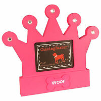 "Chasing Baxter Picture Frame Jeweled Crown Dog Woof Table Top Wood Pink 4"" x 3"""