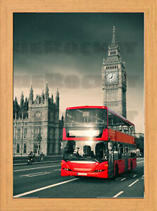 A-11- London Red Bus 40 cm x 30 cm Framed poster with 4 Shade's