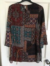 New Ladies Floral/Aztec Patchwork Style Dress With Brown Tie Belt Size 12