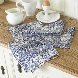 William Morris Blue Brother Rabbit Pack of 4 Cotton Floral Napkins.