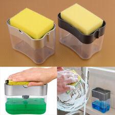 2 in 1 Manual Press Dishwashing Liquid Soap Dispenser Scrubber