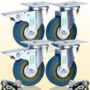 4 DSL Heavy Duty 360KG 75mm Rubber Swivel Castor Wheels Furniture Trolley Caster